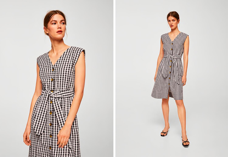Sukienka w kratę Mango