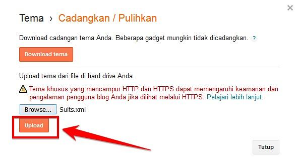 upload file template hasil download ke blog