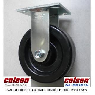 Bánh xe Phenolic chịu nhiệt càng cố định 150mm Colson Mỹ | 4-6108-339 www.banhxepu.net