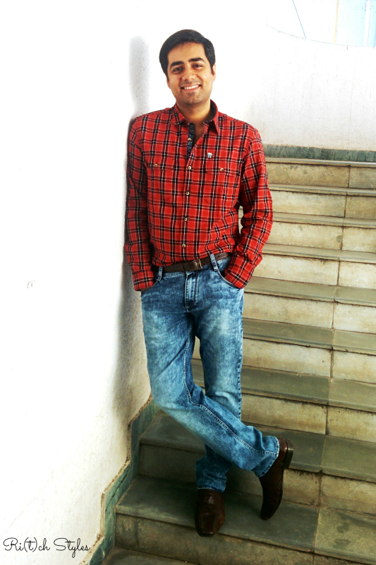 John-players-collection-blue-denim-casual-red-checks-shirt-ootd-outfit-menswear-ritchstyles