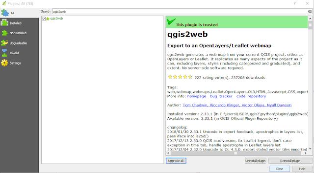 Install qgis2web plugin
