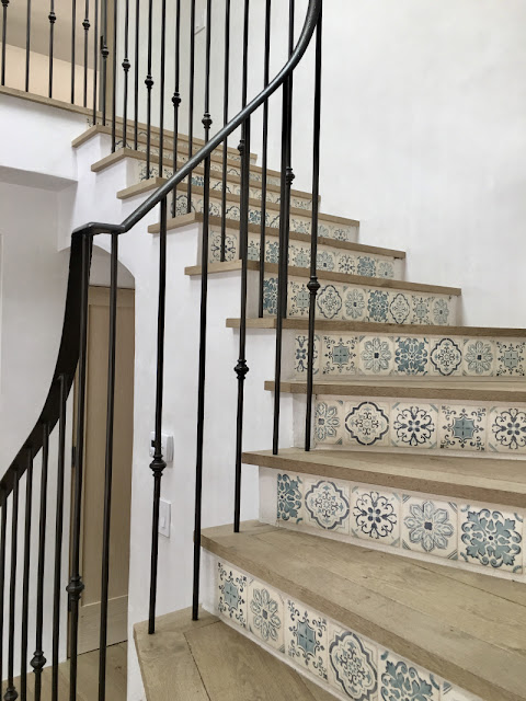 image result for stair detail with tiles Malibu Mediterranean Modern Farmhouse Giannetti Home