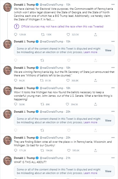 Donald Trumps Twitter Feed during vote counting Screenshot 2020-11-05