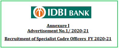 IDBI Bank Specialist Cadre Officers Recruitment 2021