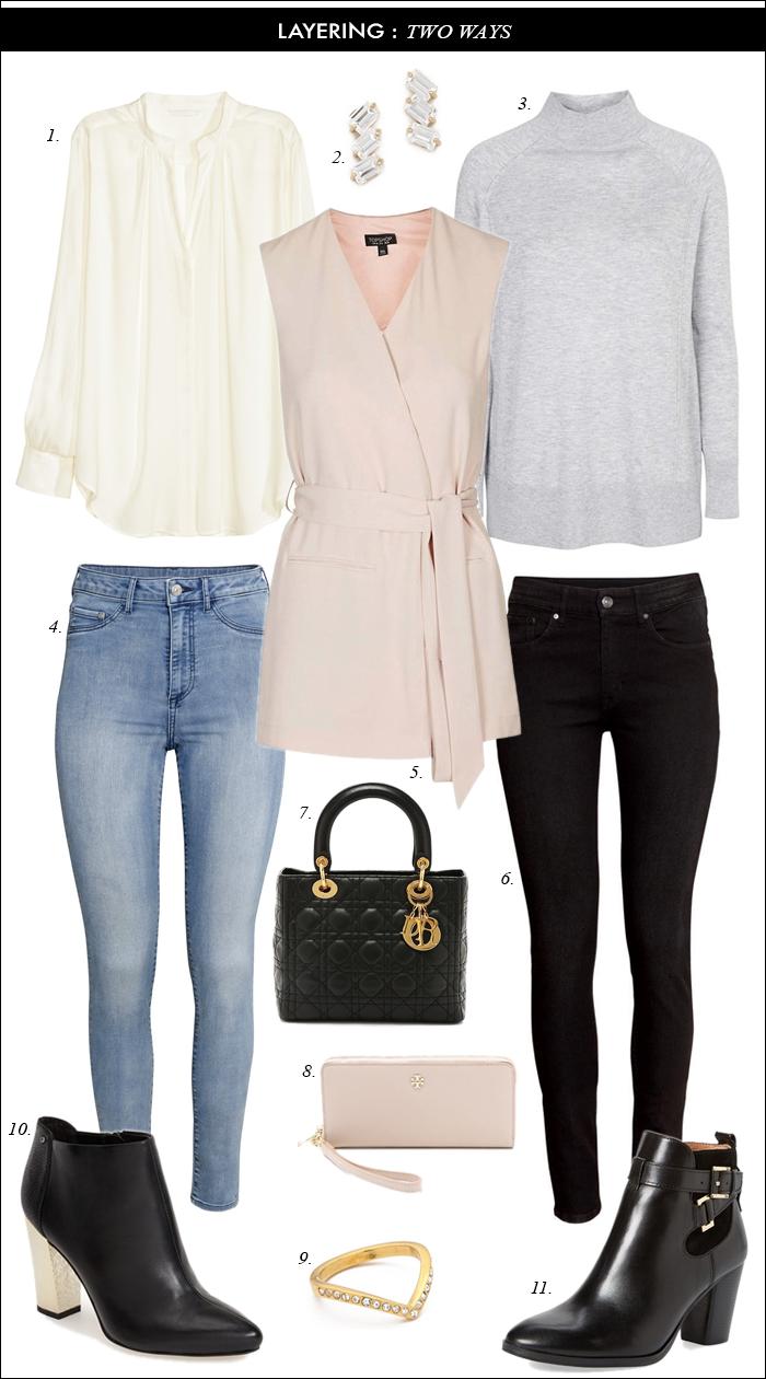 blush, sleeveless vest, topshop, skinny jeans