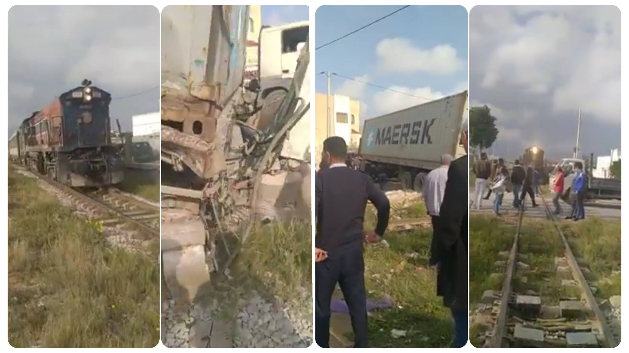 بالفيديو اصطدام قطار بشاحنة ثقيلة على مستوى زنقة العيادي طريق تونس ساقية الزيت.