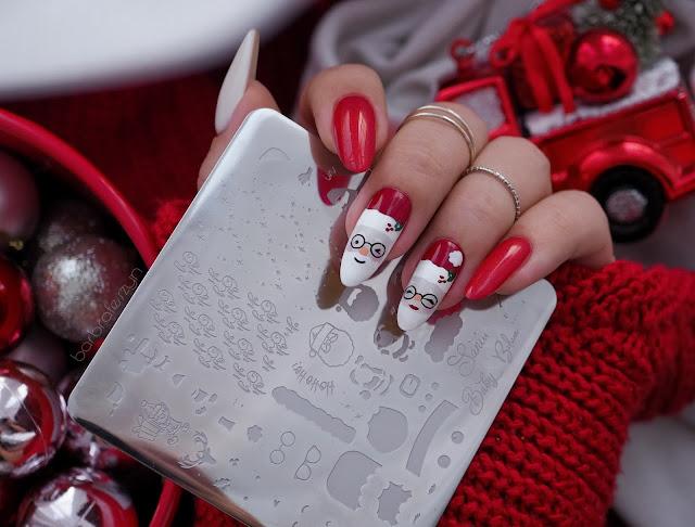 świąteczna płytka do paznokci
