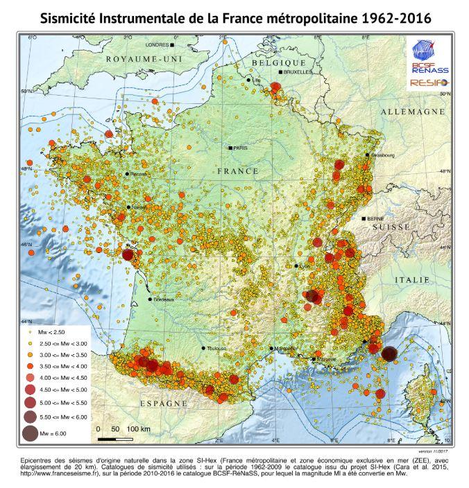 Épicentres des séismes en France de 1962 à 2016