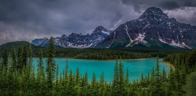 lago azul en medio de bosques de pino en Parque Nacional Jasper