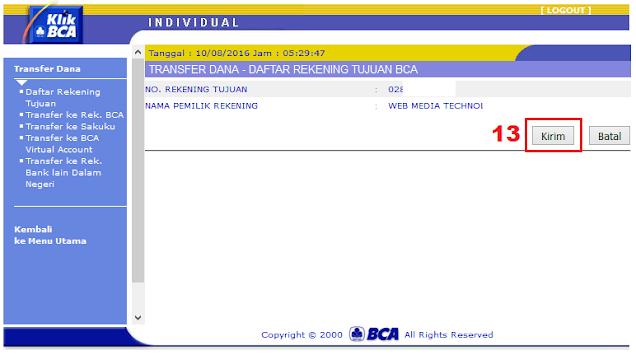 Cara Menambah Daftar Rekening Tujuan di KlikBCA / Internet Banking BCA - Halaman Konfirmasi Daftar Rekening Tujuan BCA KlikBCA