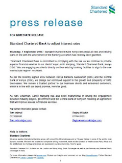 Stanchart bank press release on interest rates banking law