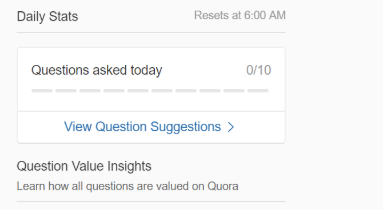 Quora partner program Daily Goals.