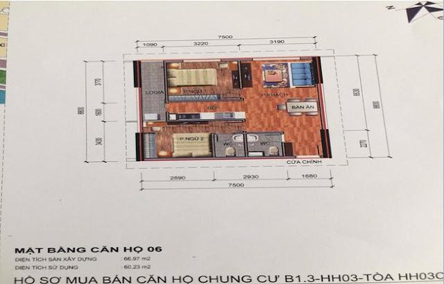 Sơ đồ thiết kế căn hộ 06 chung cư B1.3 HH03C Thanh Hà Cienco 5