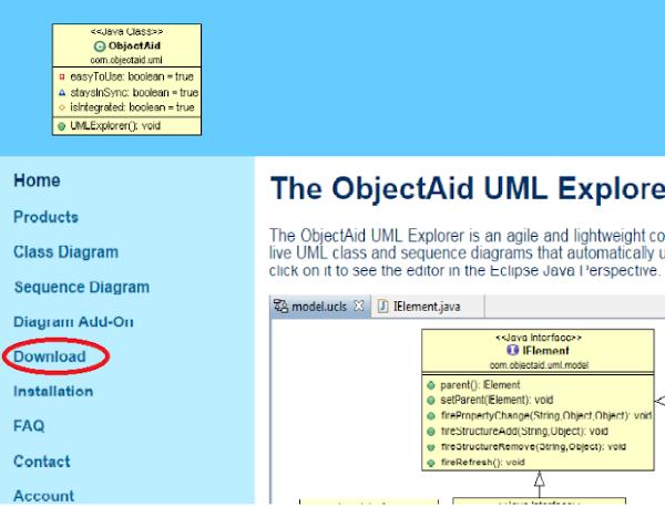 Página principal do ObjectAid menu opção download