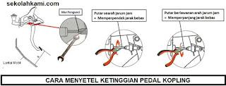 cara menyetel jarak bebas pedal kopling
