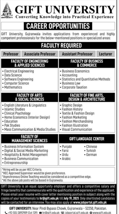 JOBS | Gift University Coverting Knowledge into Practical Experience