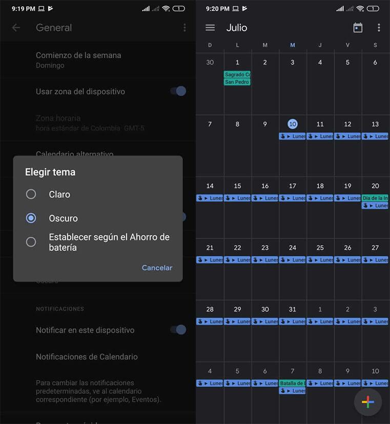 calendario google modo oscuro android