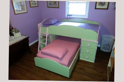 Picture of Super Cool Bunk Beds For Girls Green Color Slider With Purple Paint on The Wall