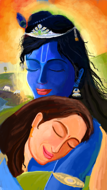 Radha Krishna Love - A Quick Painting