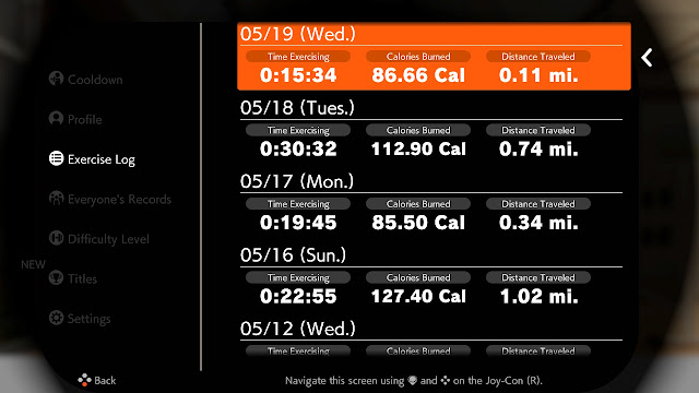 Ring Fit Adventure Exercise Log World 40: Extra Fitness Lv. 247