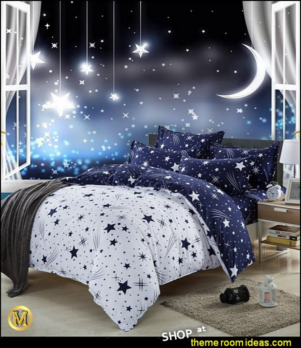 moon stars bedroom ideas - celestial bedroom ideas - moon stars bedding - celestial bedding - moon stars room decor - celestial moon stars wallpaper murals - celestial stars bedroom decor -