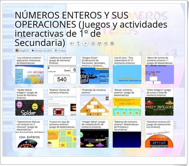 """""""15 Juegos y actividades interactivas sobre NÚMEROS ENTEROS Y SUS OPERACIONES de 1º de Secundaria"""""""
