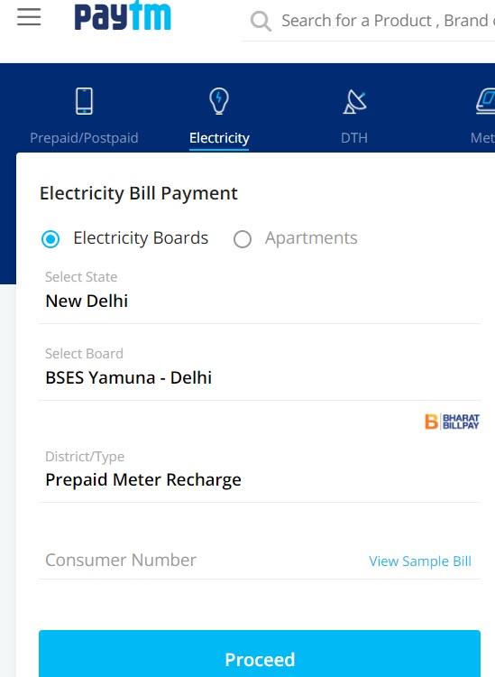 bses yamuna prepaid meter recharge paytm