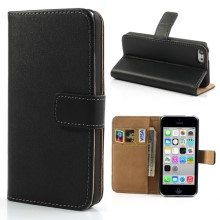 Genuine Split Leather Stand Case w/ Card Slots for iPhone 5c - Black