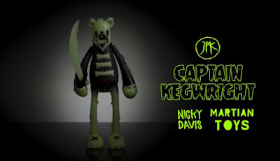 Designer Con 2017 Exclusive Captain Kegwright Dead Bear Glow in the Dark Vinyl Figure by Jon-Paul Kaiser x Nicky Davis x Martian Toys