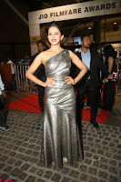 Rakul Preet Singh in Shining Glittering Golden Half Shoulder Gown at 64th Jio Filmfare Awards South ~  Exclusive 048.JPG