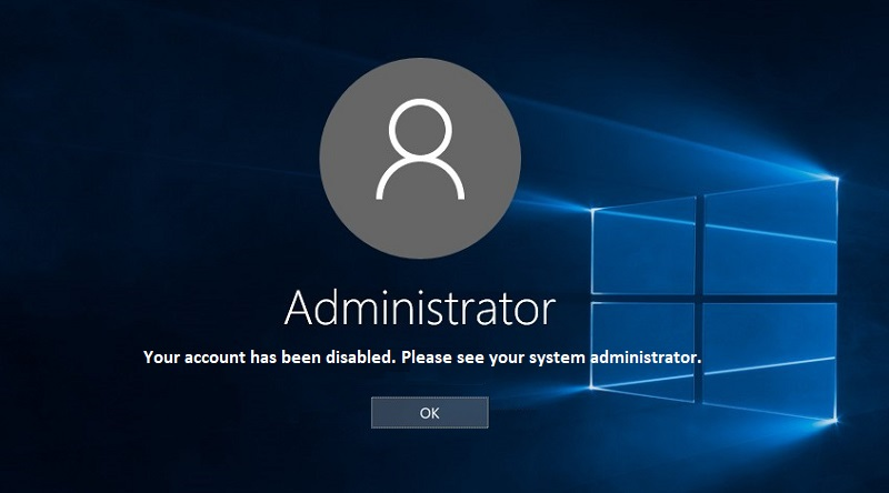 Your account has been disabled, Please see your system administrator