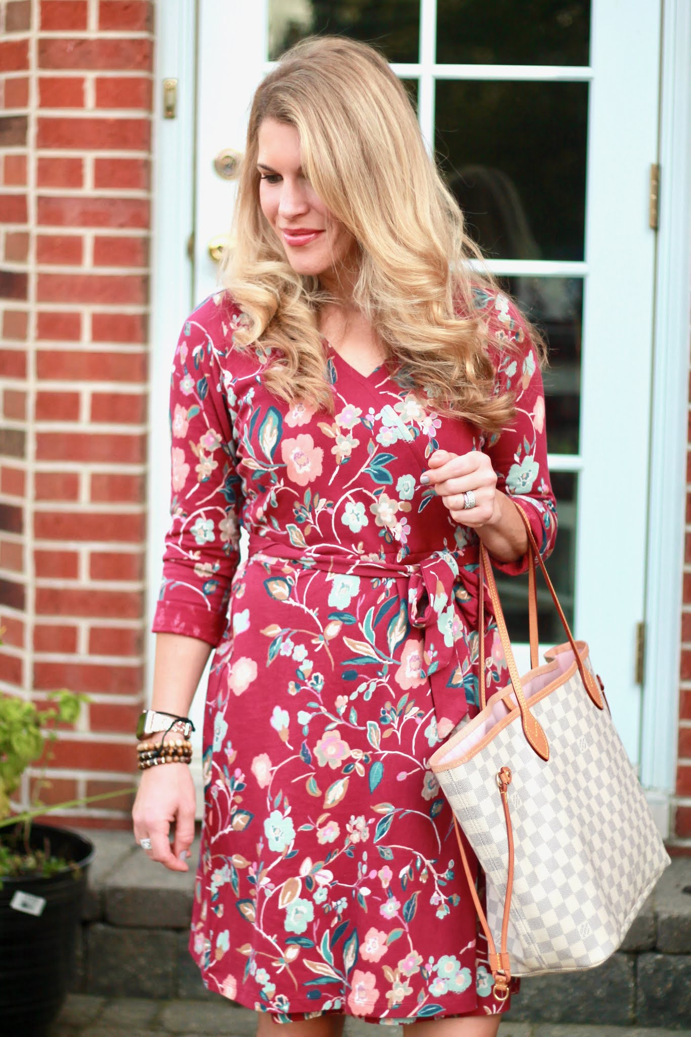 maroon floral wrap dress, aventura brooklyn dress, fall dress outfit, burgundy booties