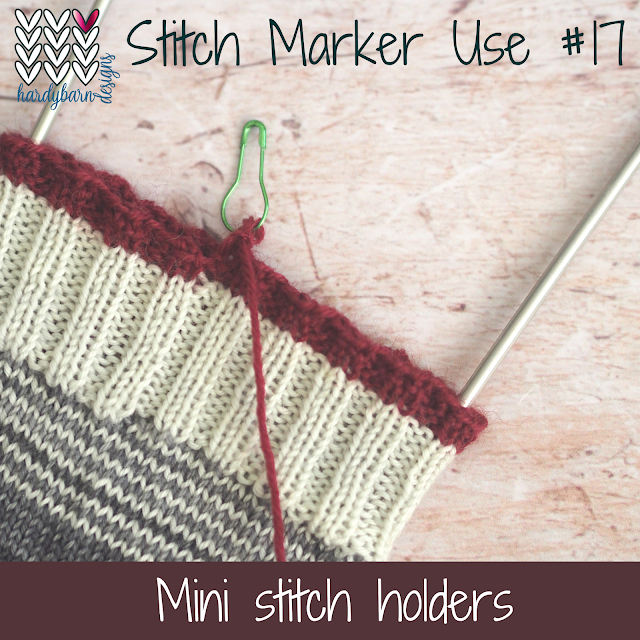 Sock cuff in greys and with burgundy trim, final stitch on a marker