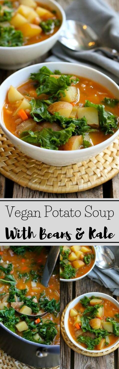 VEGAN POTATO SOUP RECIPE WITH BEANS & KALE #vegan #potato #vegetarian #soup #whole30