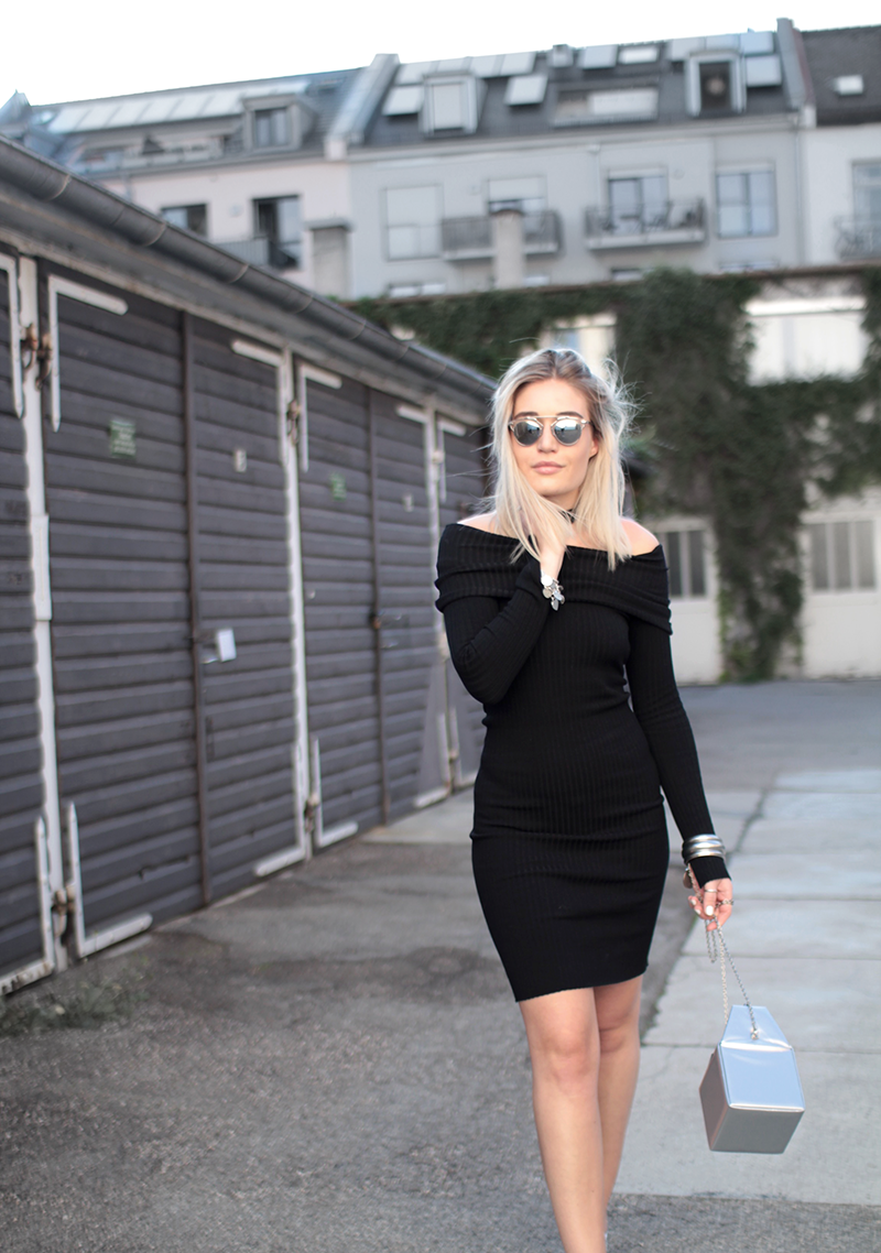 OOTD-outfit-Look-Style-Streetstyle-Off Shoulder-Gina Tricot-Dress-Knit Dress-Reebok-Metallic-Shoes-Sneakers-Zalando-Blogger-Modeblogger-Fashionblogger-Fashion-Lauralamode