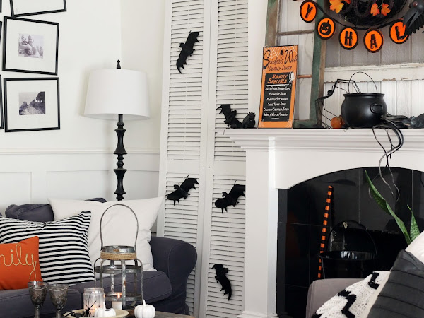 Black White and Orange Halloween Decorating in our Living room
