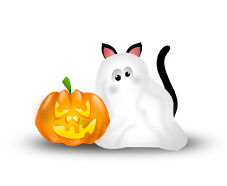 A cute ghost cat with a jack o'lantern