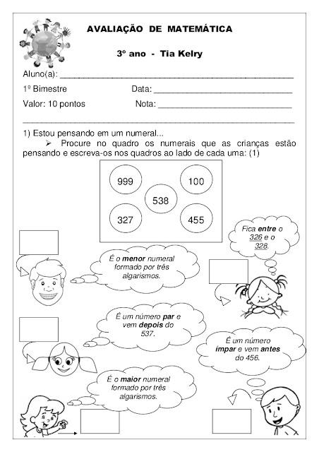 AVALIAÇÃO DE MATEMÁTICA 3o ANO 1o BIMESTRE