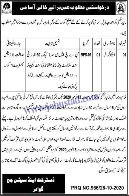 Jobs n District and Session Court Judge Office Gwadar 2020