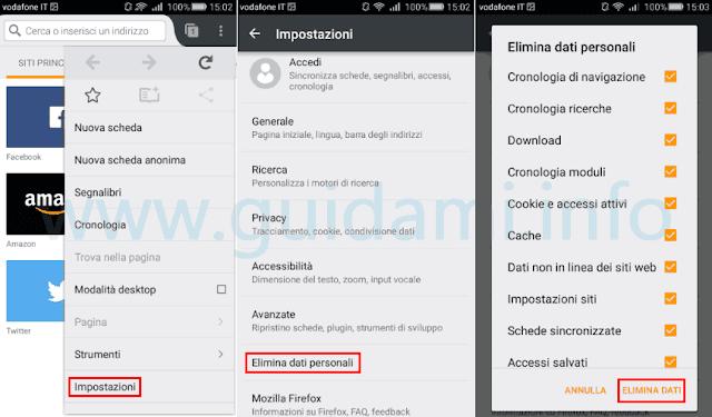 Firefox per Android cancellare dati di navigazione
