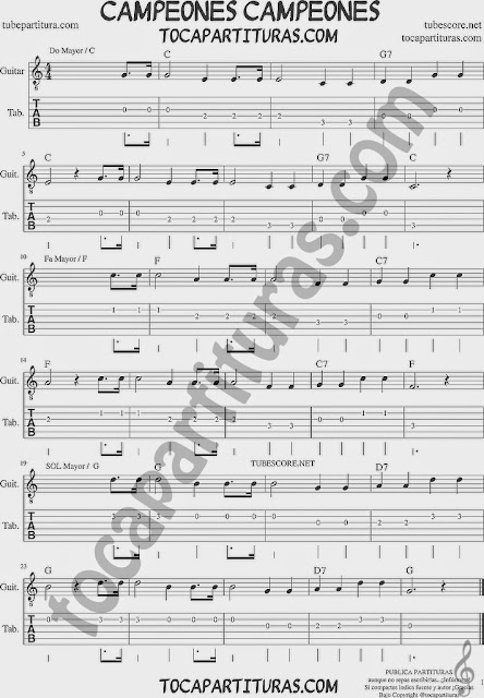 Campeones campeones Tablatura y partitura del Punteo de Guitarra (tab) para aprender a tocar la melodía con guitarra Tabs sheet music for guitar with chords guitar beginners