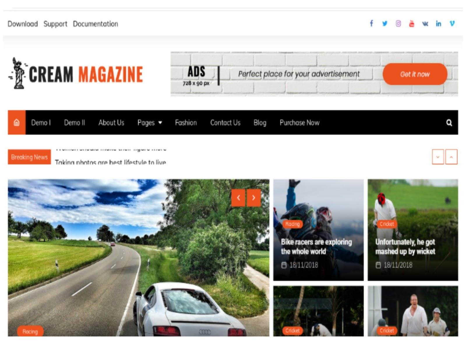 Cream Magazine WordPress Theme