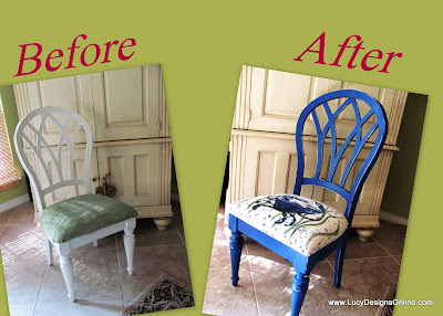 before and after coastal chair makeover