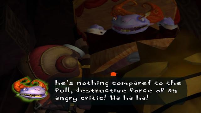 Screenshot of the Critic in Psychonauts