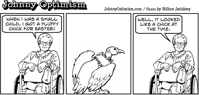 johnny optimism, medical, humor, sick, jokes, boy, wheelchair, doctors, hospital, stilton jarlsberg, easter, chick, vulture, old woman, emotional support animal
