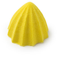 A. yellow semi circular ridged bright neon yellow shower bomb on a bright background