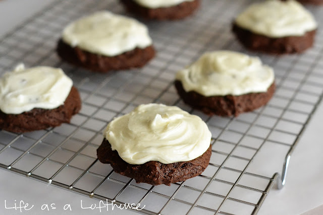 Chewy and dense Brownie Mix Cookies topped with a delicious cream cheese frosting. Life-in-the-Lofthouse.com