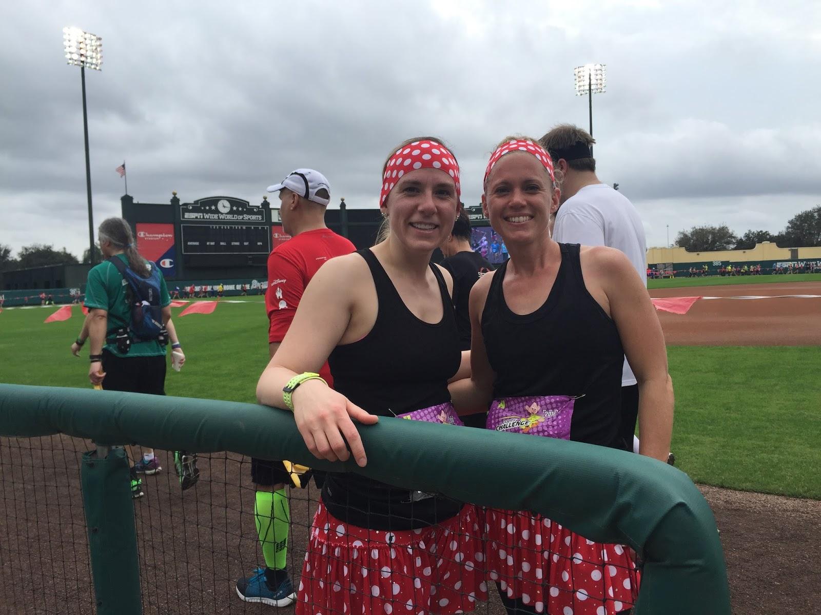 Dopey Challenge Mickey Marathon 2016 Picture together before running around the baseball field at ESPN World