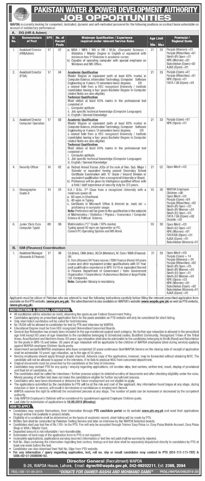 Pakistan Water & Power Development Authority WAPDA Jobs 2019 Apply via PTS