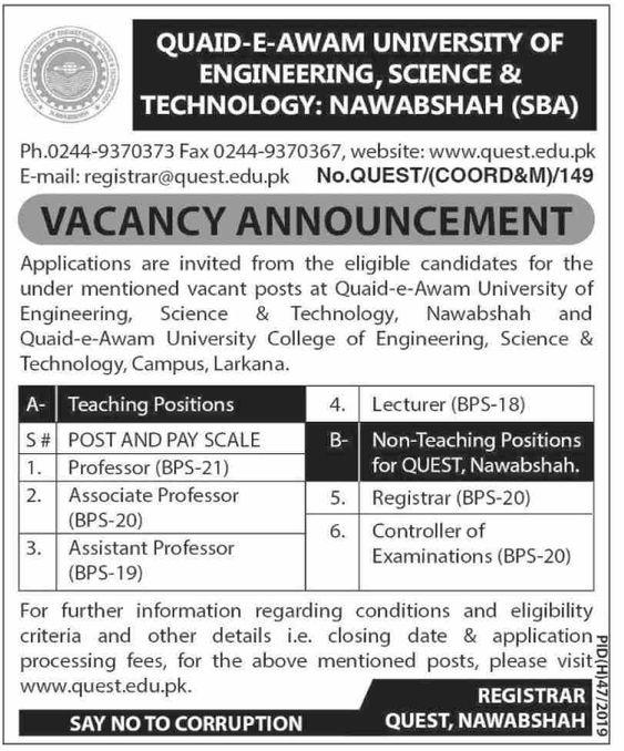 Teaching & Non-Teaching Positions In Quaid-e-awam University